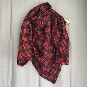Accessories - Red & Black Plaid Blanket Scarf